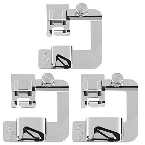 BESLIME Prensatelas Para Dobladillo - Dobladillo Universales Maquina Coser,Enrollado Pies de Prensatelas (4/8, 6/8, 8/8 Inch) para la Mayoría de Máquinas de Coser de Vás,3pcs