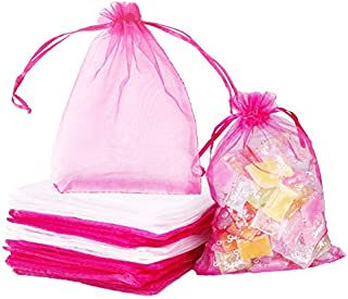 OBANGONG 120pcs Organza Bags 5x7 inch hot Pink and White Jewelry Bags with Drawstring Mesh Jewelry Gift Pouch Wedding Part...