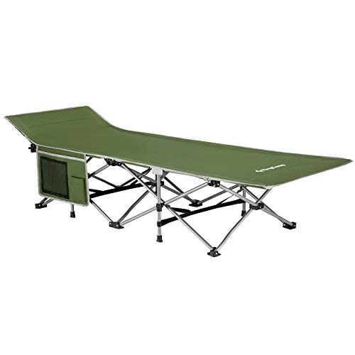 KingCamp Folding Camping Cot for Adults W/Carry Bag, Portable Sleeping Cot for Camp Office Use W/Pockets, Heavy Duty Folding Cot Bed, Green