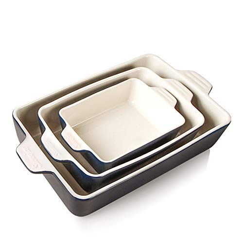 SWEEJAR Ceramic Bakeware-Set Baking-Dish Lasagna-Pans Casserole-Dish (Navy)