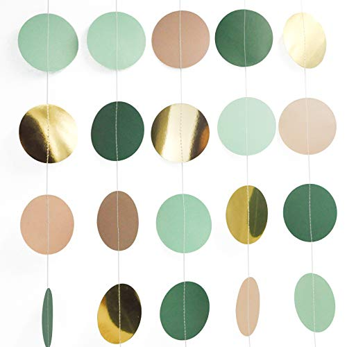 NICROLANDEE Wedding Party Decorations - 3 Pack Green Dots Paper Garland String Hanging Backdrop for Rustic Wedding, Neutral Baby Shower, Vintage Party, Birthday, Engagement, Bridal Showers