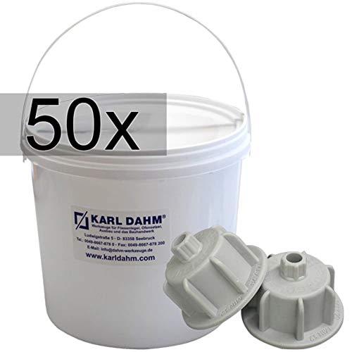 Kap Karl Dahm, 50 stuks, grijs, voor 12-20 mm, in 5-l emmer, art.nr. 12510 tegelinstallatie, tegels vlak leggen, draaikap, draaiknopen, nivelleersysteem