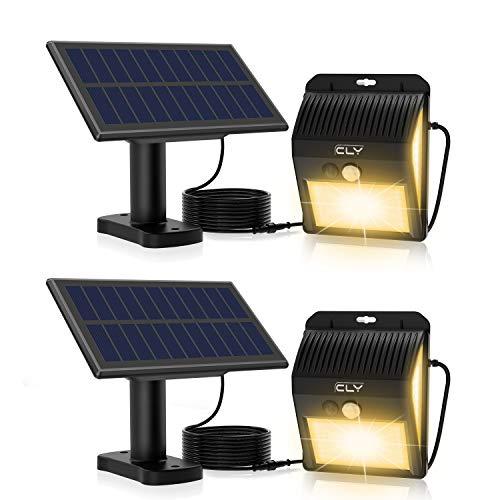 Solarleuchten für Außen,CLY 200 LED Solar Aussenleuchte mit Bewegungsmelder,IP65 Wasserdichte,270°Beleuchtungswinkel,Solar Wandleuchte10ft Kabel [Warmweiß 2 Stück] [Energieklasse A+++]