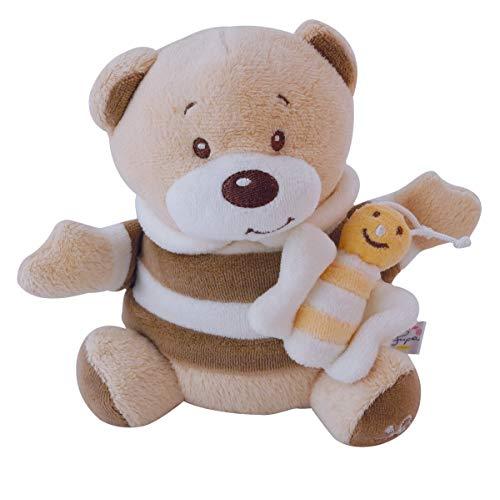 Bieco Musikspieluhr Bär Bubu, 20 cm | Baby Spieluhr | Einschlafhilfe Babys | Baby Musik | Spieluhr Baby | Baby Schlaf | Kuscheltiere für Babys | Einschlafhilfe Kinder | Baby Spielzeug ab 0 Monate