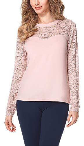 Bellivalini Blusa Camiseta Manga Larga de Encaje Mujer BLV50-133 (Polvo Rosa, XXL)