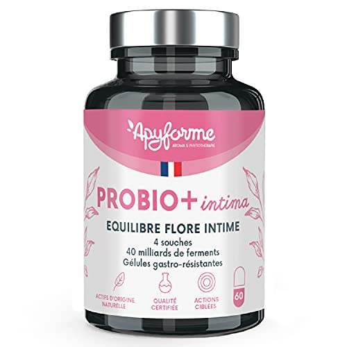Probio+ Intima - Flore Intime - Jusqu'à 40 Milliards UFC/Jour - 4 Souches Lactobacillus Reuteri, Rhamnosus Crispatus et Acidophilus - 100% FRANÇAIS