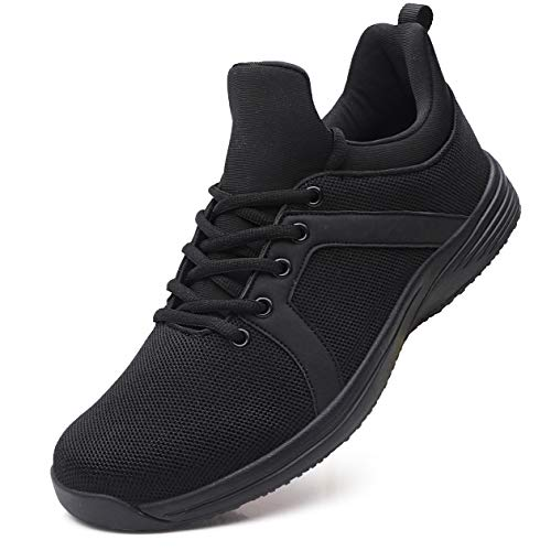 EXEBLUE Mens Food Service Shoes Non Slip Kitchen Shoes Comfortable Slip on Work Shoes Black