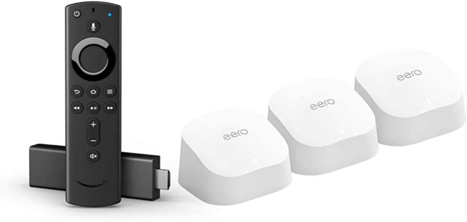 Amazon eero 6 dual-band mesh Wi-Fi 6 system (3-pack) bundle with Fire TV Stick 4K streaming device with Alexa Voice Remote