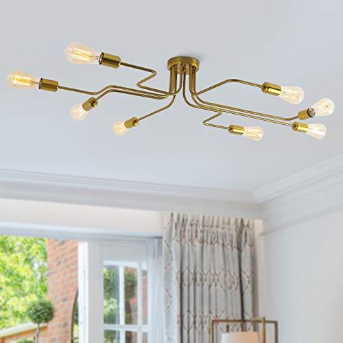 Lámpara colgante de comedor de metal Lámparas de araña de acero moderno Iluminación de techo con luz E27 Bulbo pintado en interior colgante para dormitorio, sala de estar, cafetería (Dorado 8 luces)