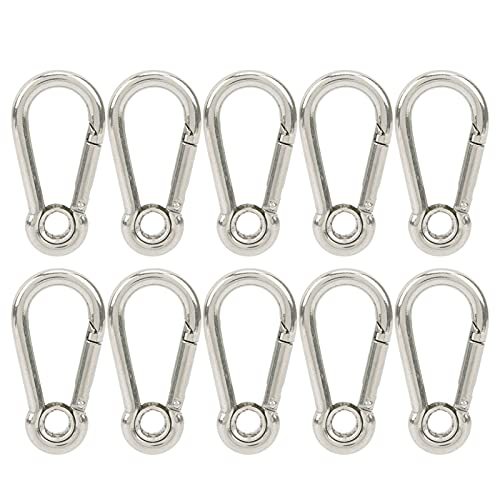 10 piezas M5 ganchos a presión resorte mosquetón hebilla de acero inoxidable para acampar escalada enganche