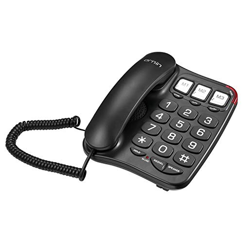 Ornin S016 Big Button Corded Telephone with Speaker, Hearing Aid Compatible for Seniors (Black)