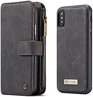 iPhone Xs Max leather case multifunction flip wallet cover with 14 cards pockets anti fall shockproof protective sleeve Sc...
