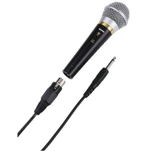 Hama Dynamisches Mikrofon DM 20 mit Nierencharakteristik, Metallgehäuse, Kabellänge 3 m, schwarz
