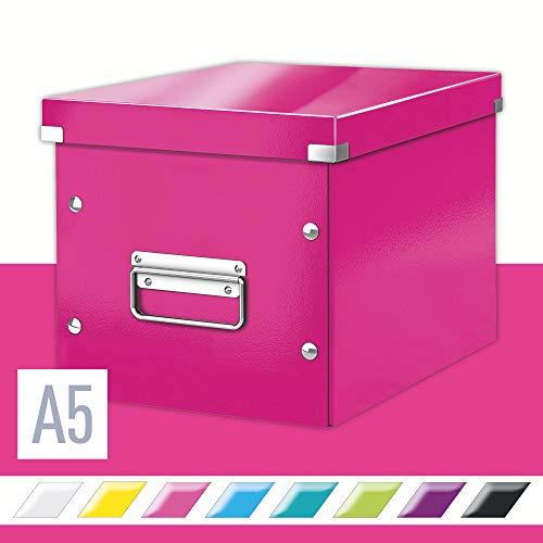 Leitz Caja de almacenaje cúbica, Tamaño mediano, Rosa, Click & Store, 61090023