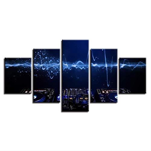Modulaire afbeeldingen muurkunst canvas HD prints poster 5 stuks DJ muziek console instrument mixer schilderen nacht bar wooncultuur frame 30x40cmx2 30x60cmx2 30x80cmx1 Frame