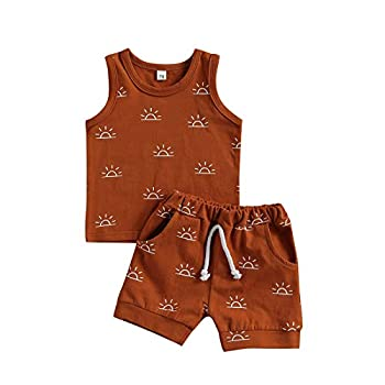 Madjtlqy Toddler Baby Boy 2pcs Sleeveless Outfit Summer Shorts Set Tank Top Pocket Short Pants Clothes  18-24 Months Brown + Sunrise