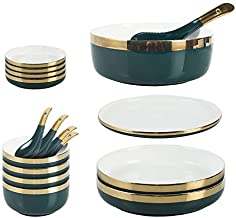 Falpro 18 Pieces Ceramic Dinnerware Set Gold Rim Plates Bowls Spoons Tableware Set