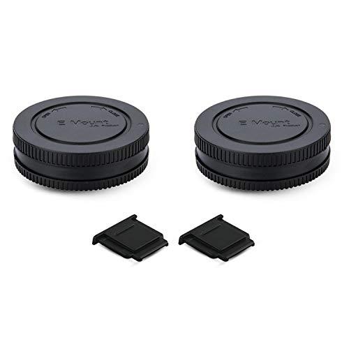2 Pack E Mount Body Cap Cover & Rear Lens Cap for Sony ZV-E10 A6000 A5100 A6100 A6300 A6400 A6500 A6600 A1 A7C A7 A7II A7III A7R A7RII A7RIII A7RIV A7S A7SII A7SIII A9 A9II & More Sony Camera Lens