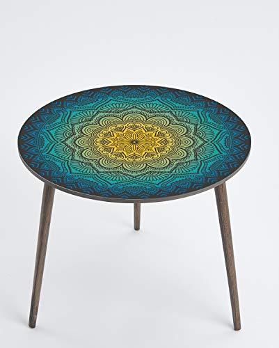 Queence Design-Tisch/runder Beistelltisch/Couchtisch/Retro Design / / Coffee Table Tisch/Nachttisch/Wohnzimmertisch/Telefontisch/Größe: 50 Ø cm, Farbe:Floral/Bunt 3