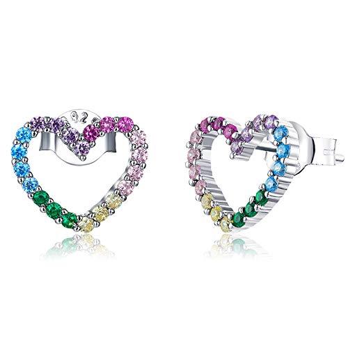 Qings Pendientes en Forma de Corazón Arcoíris, Plata de Ley 925 Pendientes con Vistoso Circonitas Cúbicas Joyería de Moda para Mujer Niñas Regalo de Cumpleaños