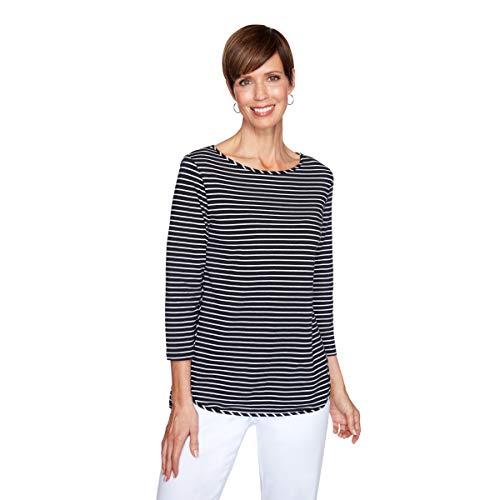 Ruby Rd. Women's Plus Size Striped High-Low Top, Black/White, 1X