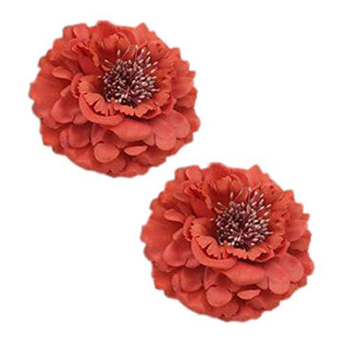 Décoration élégante de cheveux de clip de cheveux de fleur 2PCS pour les dames, Pastèque rouge