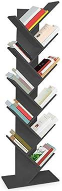IDMarket - Etagère bibliothèque à Livres Tea Forme d'arbre 10 Niveaux Grise