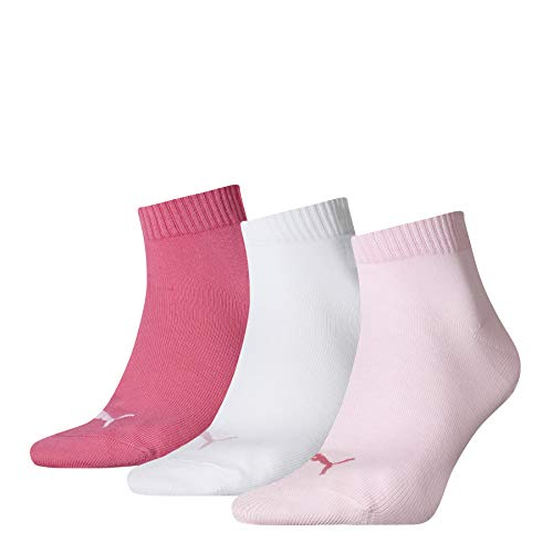 PUMA Plain Quarter Socke, Pink Lady, 39-42, 3 Paar