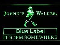 Johnnie Walker Blue Label It's 5pm Somewhere LED看板 ネオンサイン ライト 電飾 広告用標識 W30cm x H20cm グリーン