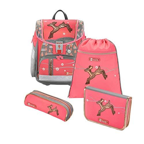 """Step by Step Schulranzen-Set Touch 2 """"Modern Deer"""" 4-teilig, rosa-grau, REH-Design, ergonomischer Tornister mit Reflektoren, höhenverstellbar für Mädchen 1. Klasse, 21L"""