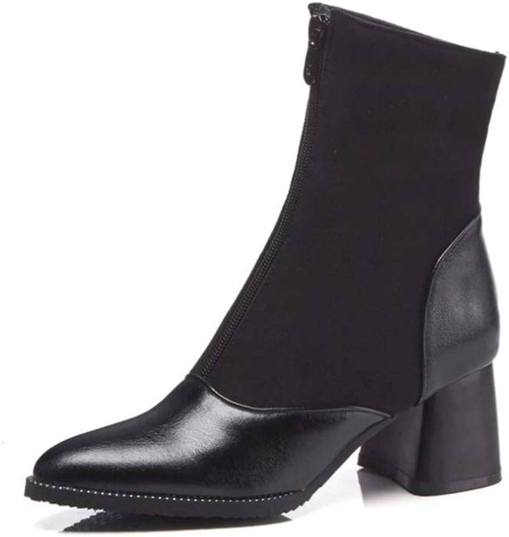 BeautyOriginal Women's Fashion Low Chunky Heel Pointed Toe Front Zipper Boots