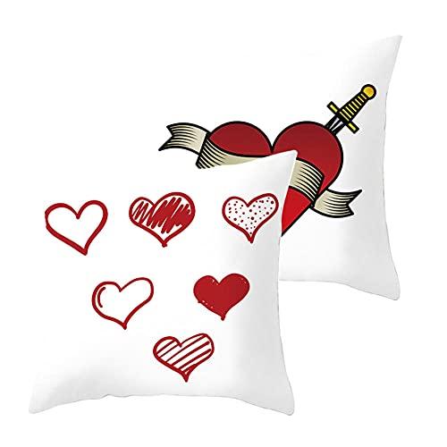 LOYYE Pack de 2 Fundas de Cojines Corazón Rojo Funda de Almohada Cuadrado Terciopelo Suave con Cremallera Invisible para Sofá Coche Decor para Hogar Throw Pillow Case Regalo J3576 Pillowcase_55x55cm