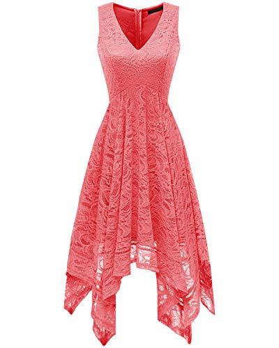 Bridesmay Dames Sexy oversized kanten jurk Onregelmatige cocktailjurk Spitse jurk Zomerjurken