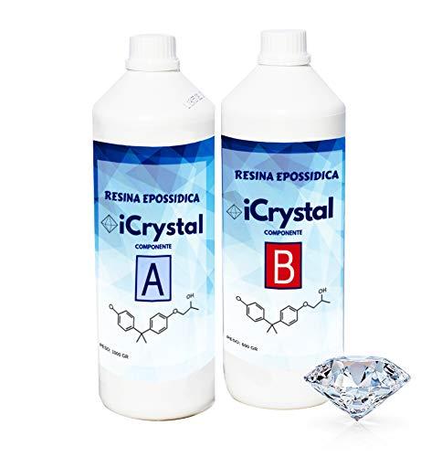 Resina epossidica Ultra Trasparente iCrystal kg 1,6 Effetto acqua per bricolage e fai-da-te