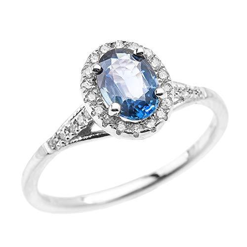 White 9 ct Gold Halo Solitaire Kanchanaburi Sapphire Proposal Ring RII