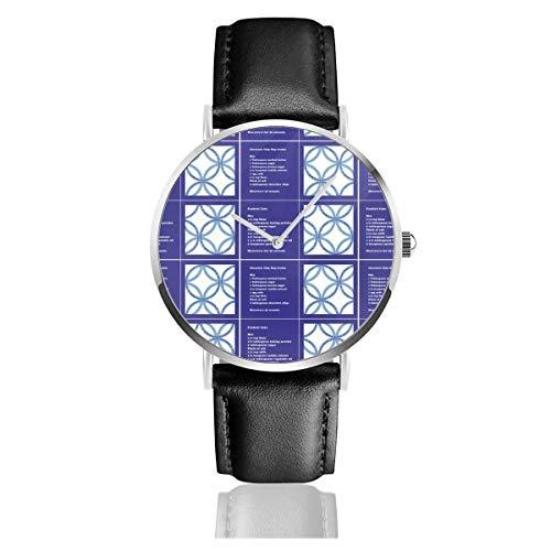 Reloj de Pulsera Reloj de Cuarzo Taza Juego de Posavasos para Recetas de Pastel 2 Relojes Casuales con Reloj de Cuero Negro