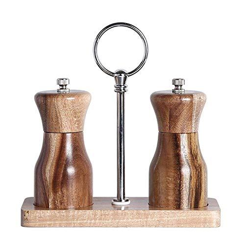 Juego de molinillo de sal y pimienta, rotor de cerámica con estante de madera, molinillo de cerámica ajustable para cocinar utensilios de cocina Molinillo de sal Molinillo de pimienta Molinillo de sa
