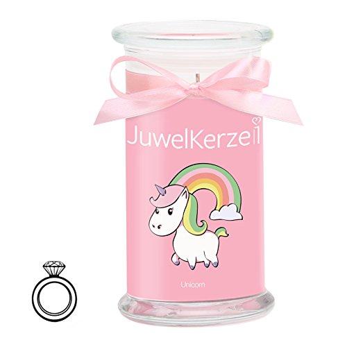 JuwelKerze Unicorn Candle - Kerze im Glas mit Schmuck - Große rosane Einhorn Duftkerze mit Überraschung als Geschenk für Sie (Silber Ring, Brenndauer: 90-120 Stunden)(S)