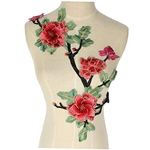 Colorido flor de tela bordada cosido en el vestido de boda de parche artesanía de DIY Insignias Buena calidad