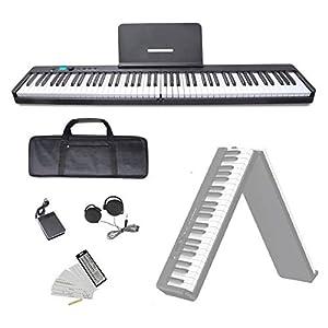 ニコマク NikoMaku 電子ピアノ 88鍵盤 折り畳み式 SWAN-X 黒 ピアノと同じ鍵盤サイズ コンパクト 高音質 軽量 充電型 MIDI対応 ペダル ソフトケース 鍵盤シール 練習用イヤホン付き