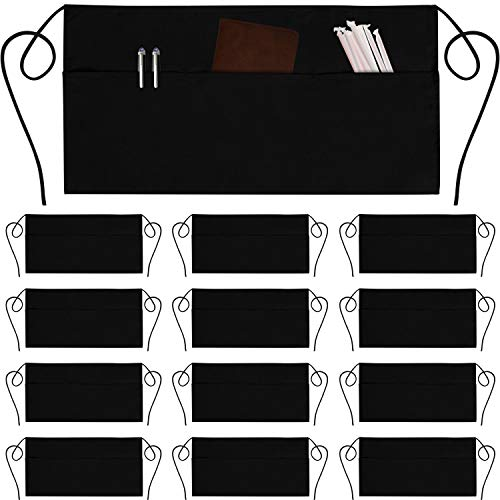 12 Pack Server Aprons with 3 Pockets - Waist Apron Waiter Waitress Apron Water Resistant Added Long Waist Strap Reinforced Seams Half Apron for Women