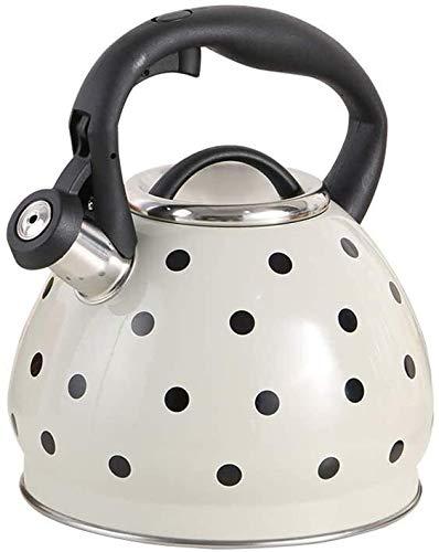 Bouilloire induction Bouilloire gaz en acier inoxydable Stovetop Whistling Kettle épaissie trois couches composite Bas Convient for tous les types de poêles Hob WHLONG (Color : Creamy White)