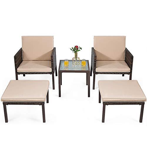 USA_Best_Seller 5 pcs New Modern Luxury Rattan Patio Deck Garden Backyard Ottoman Cushioned Garden Furniture Set Chairs Useful Durable Wicker Attractive