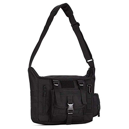 Greenpromise Viaje al aire libre Sling Bolso de hombro táctico Crossbody Messenger Bag Molle Large Waterproof Laptop Pack Haversack (negro)