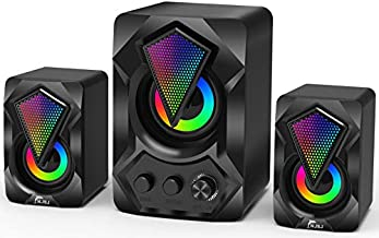 Computer Speaker with Subwoofer, NJSJ USB-Powered 2.1 Stereo Multimedia Speakers System with RGB LED Light 3.5mm Audio Input Great for Music,Movies,Gaming,PC,Laptop,Tablet,Desktop