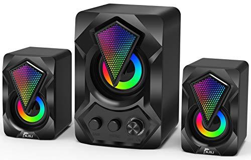 Computer Lautsprecher mit Subwoofer,USB-betriebenes 2.1 Stereo Multimedia Soundsystem mit RGB Gaming LED Licht, 3,5 mm Audio, bis zu 11 W verbesserter Bass für Musik, Filme, PC, Laptops, Tablets