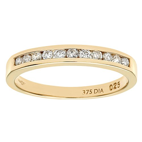 Naava 9 ct Yellow Gold Diamond Channel Set Eternity Women's Ring