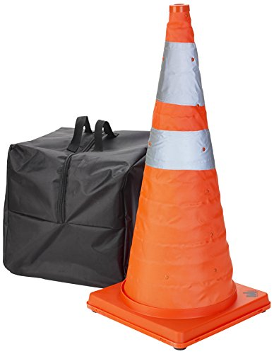 """Mutual Industries 17714-5-28 Collapsible Cones, 28"""" Height, 12"""" Length, 12"""" Width, Plastic, Orange and Reflective Silver (Pack of 5)"""