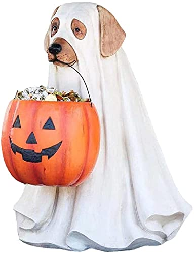 JJY Trick or Treat Wizard Ghost Dog Buckets,Ghost Dog Candy Bowl Holder,Outdoor Life Size Ghost Dog Candy Bowl,Large Pumpkin Candy Dish,Halloween Decorations B