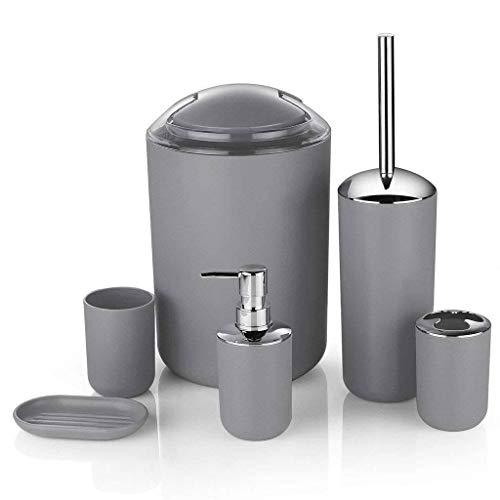 Badkameraccessoires 6ingesteld, Toiletborstel En Beugel Prullenbak Mondwater Cup Voor Badkameropslag En -organisatie-grijs